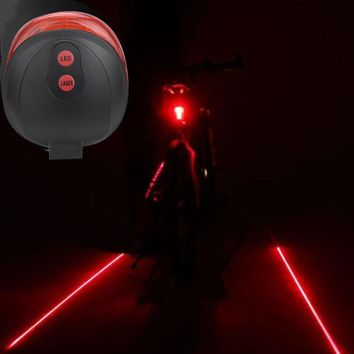 Cycling Bike 2 Laser Projector Red Lamps Beam and 3 LED Rear Tail Lights Reflector Reflective Front Rear Warning Light Safety