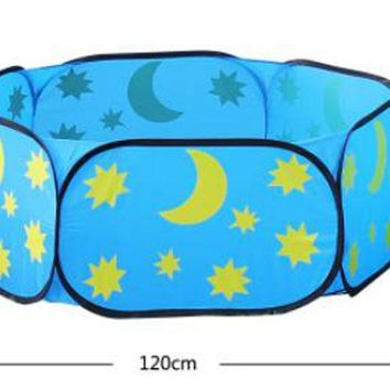 Kids' Tent Style Folding Colorful Safe Ocean Ball/Beach/Cassia Seed Pool(Stars)