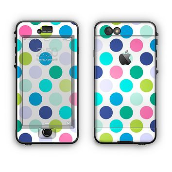 The Vibrant Colored Polka Dot V1 Apple iPhone 6 LifeProof Nuud Case Skin Set