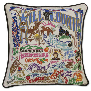 Hill Country Hand Embroidered Pillow