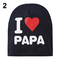 Cute Warm Baby Hat I LOVE MAMA/PAPA Knitted Cotton Beanie Cap = 1930057476