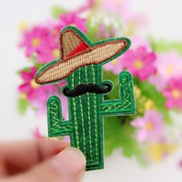 New Arrival 1PCS Cowboy Cactus With Hat and Beard DIY Embroidered patches Iron On Cartoon Brooch Applique Embroidery Accessory