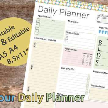 "Daily Planner Printable, Daily Planner Editable, A5 Daily Planner, Daily planner template, 8.5""x11"" DIY Planner Pages – Instant download PDF"