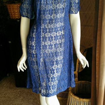 40's Royal Blue Lace Dress w/ Sparkle, Velvet & Sequins, Cinched Sleeves, Sheer Blue  Lace Dress, Cinched Sleeve Vintage Tunic Dress, SM
