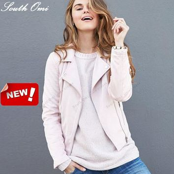 Amazing Pastel Powder Pink Leather Jackets Motorcycle Jacket Pu Black Blazer Coat Zip Up Bomber Jacket Coat blouson cuir
