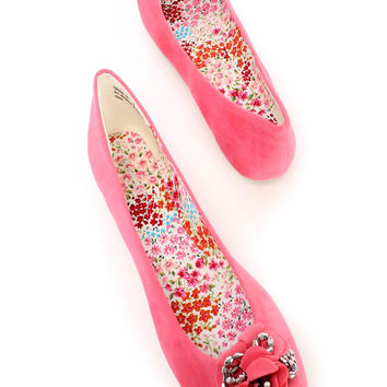 Coral Round Toe Floral Shiny Diamond Flats