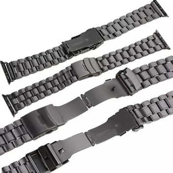 38/42mm Stainless Steel Men's Watch Band 5 Beads Fold Clasp Black Silver Watch Strap for Apple Watch Link Bracelet I5.