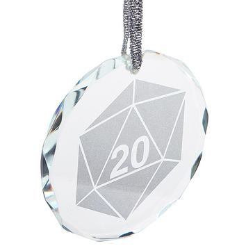 D20 Dice Table Top Game Etched Round Crystal Ornament