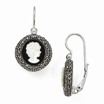 Sterling Silver Marcasite Cameo Leverback Earrings