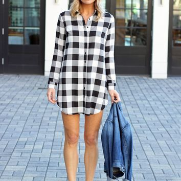 Black And White Plaid Shirt Dress-BB Dakota Tanwyn Plaid Shirtdress-$79.00 | Hand In Pocket Boutique