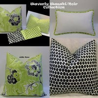 Pillow collection trio of pillow covers, citrine, black, ivory home accent,modern floral pillow cover, Waverly designer