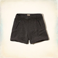 Zip-pocket Herringbone Shorts