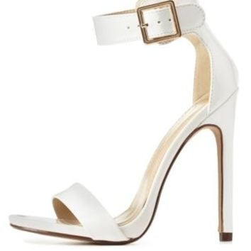 White Single Sole Ankle Strap Heels by from Charlotte Russe