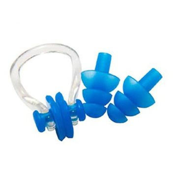 Swimming Pool beach Soft Silicone Swimming Nose Clips + 2 Ear Plugs Earplugs Gear With Case Box Pool Accessories Water Sports Nose Clip Earplug SetSwimming Pool beach KO_14_1