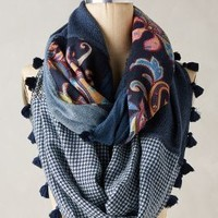 Fernside Patchwork Scarf by Anthropologie in Blue Size: One Size Scarves