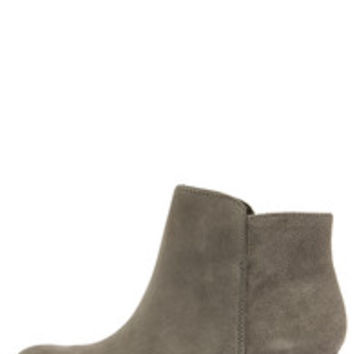 Jessica Simpson Delaine Gnocchi Grey Suede Leather Ankle Boots