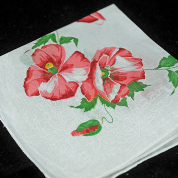 Vintage Handkerchief, Peach and White Collectible Hankie - Crafting, Framing,  or Sewing Hankie Lot Q-1