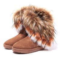 Fox Fur Warm Autumn Winter Wedges Snow Boots Shoes