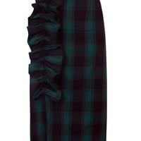 Navy Plaid Ruffle Detail High Waist Pencil Skirt