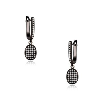 Aria Black Plating Oval Charm Earrings, Necklace, Gifts for Mom, Best Friends
