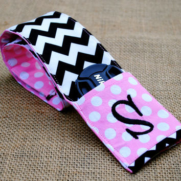 Monogrammed chevron camera strap cover