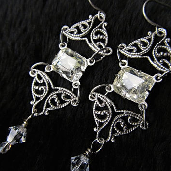 Sterling Bridal Earrings Art Nouveau Wedding Earrings Filigree Earrings Vintage Crystal Jewel Earrings Swarovski Earrings- The Look