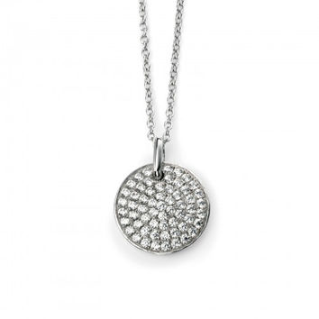 Rhodium Plated Sterling Silver Clear CZ Pave Disc Necklace 42 + 3cm