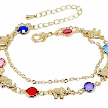 "1-0625-g1 18kt Brazilian Gold Layered Multicolor Elephants Double Bracelet. 6-1/2""-8"" adjustable length, 6mm colored stones. 3 colors available."