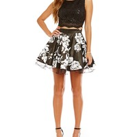 Jodi Kristopher Sequin Lace to Floral Two-Piece Dress | Dillards