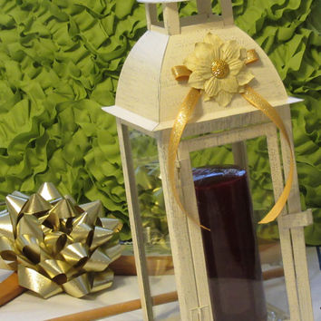 Cottage Chic Cream Chalk Painted Metal Candle Lantern With Beautiful White Flower With Gold Glitter, Gold Bow, and Bling