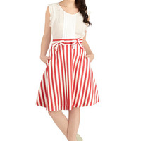 Bea & Dot Nautical Mid-length A-line Partake in Peppermint Skirt in Stripes