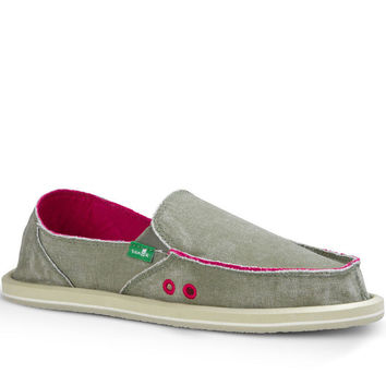 Sanuk Donna Distressed Grey Olive Sidewalk Surfers