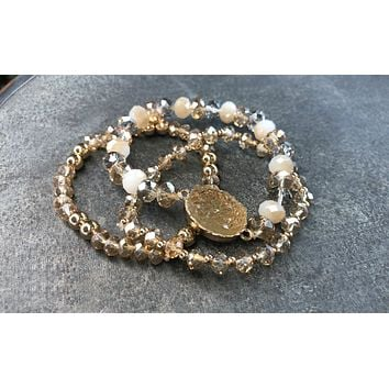 Found a Gem Stackable Bracelets: Cream