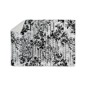 "Victoria Krupp ""Stripes And Flowers"" Black White Digital Sherpa Blanket"
