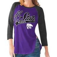 G-III For Her Kansas State Wildcats Purple/Black Halftime Three-Quarter Raglan T-Shirt | DICK'S Sporting Goods