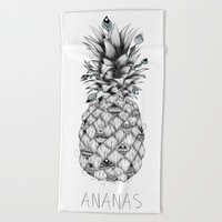 Ananas Beach Towel by LouJah