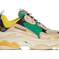 ABHCXX Balenciaga Triple S Green Yellow Sneakers