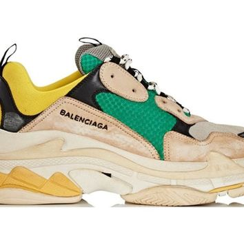 ABKUYOU Balenciaga Triple S Green Yellow Sneakers