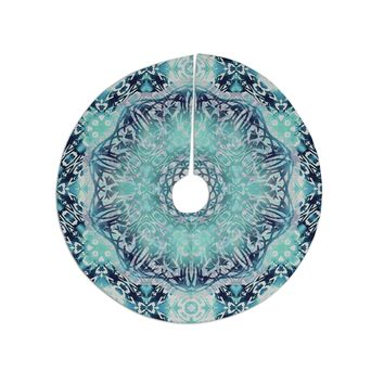 "Nina May ""Aqua Ikat Batik Mandala"" Teal Blue Mixed Media Christmas Tree Skirt"
