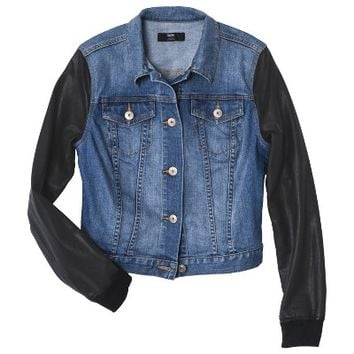 Mossimo® Women's Denim Jacket w/ Faux Leather Sleeves - Assorted Washes