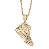 Gold 3D Iced Out Shoe Basketball Sneaker Pendant Necklace