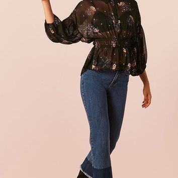 Floral Sheer Chiffon Smocked Shirt