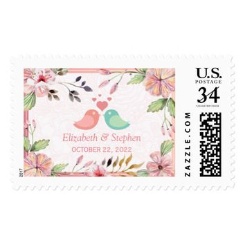 Modern Watercolor Lovely Floral Wedding Shower Postage