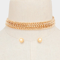 """13"""" gold mesh chain choker collar necklace .40"""" earrings .60"""" wide"""