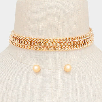 "13"" gold mesh chain choker collar necklace .40"" earrings .60"" wide"