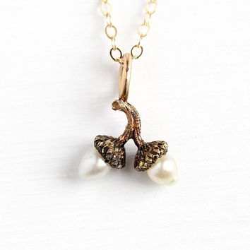 Antique Acorn Necklace - 1900s Edwardian Era 18k Rosy Yellow Gold Stick Pin Conversion Pendant - Victorian Figural Good Luck Charm Jewelry