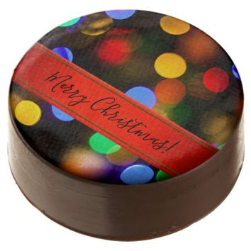 Multicolored Christmas lights. Add text or name. Chocolate Covered Oreo