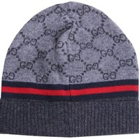Gucci Grey/Charcoal Wool Beanie Navy/Red Stripe Hat