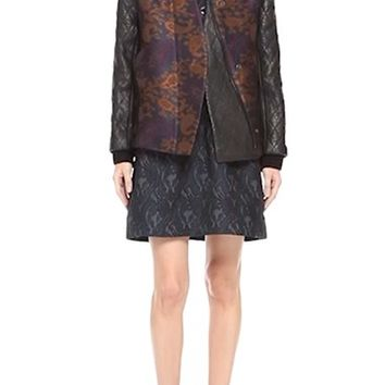 Yigal Azrouël Leather Sleeve Paisley Jacquard Bomber Jacket | Nordstrom