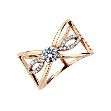 Rose Gold Poinsettia - Women's Stainless Steel Ring With Rose Gold IP And Clear CZ Stones
